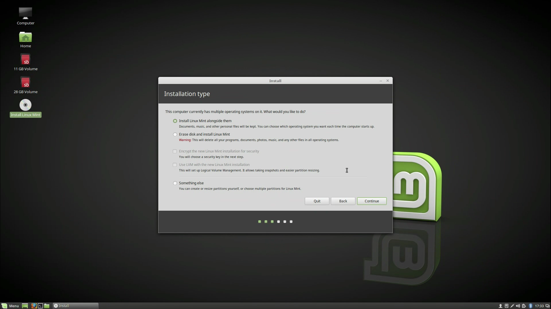 How do I install Linux Mint on a Chromebook with a separate home